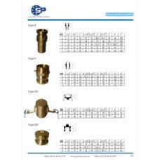Brass Camlock Type E F DC DP