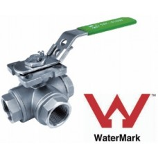 Stainless Steel Three Way Ball Valve BSP L Port